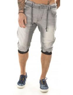 Bermuda homme Justway en jeans bimatière gris clair