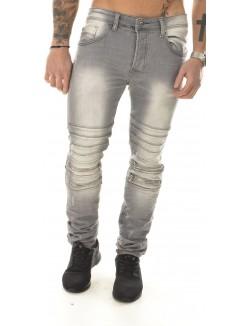 Jeans homme Projet X motard à zips gris délavé