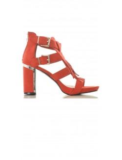 Sandales effet daim à franges