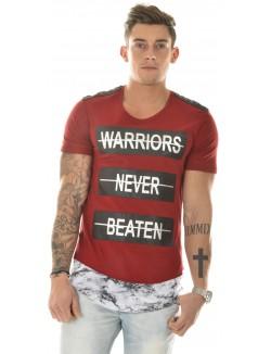 T-shirt bimatière marbre