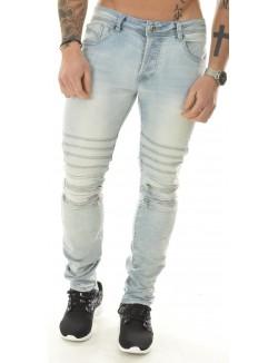 Jeans homme Projet X motard à zips bleu clair délavé
