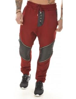 Jogging sarouel bimatière motard à zips