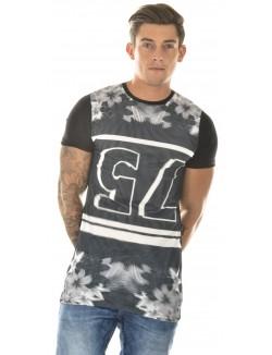 """T-shirt homme oversize John H """"75"""" à fleurs"""