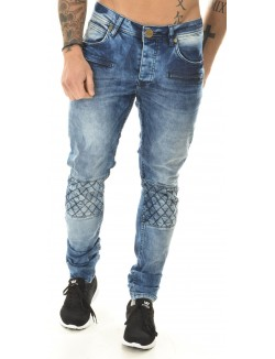 Jeans motard délavé
