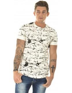 T-shirt homme oversize marbré à zips