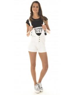 Salopette short en jeans blanc