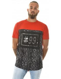 T-shirt homme oversize bimatière marbré