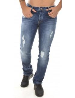 Jeans slim Twister bleu brut déchiré