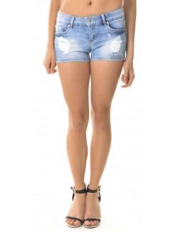 Short en jeans déchiré à sequins