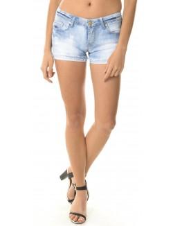 Short en jeans délavé destroy