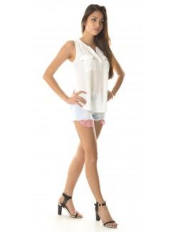 Short femme taille haute déchiré à poches à rayures