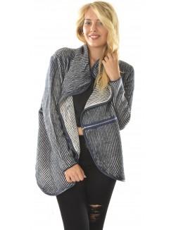 Gilet en laine à rayures zippé