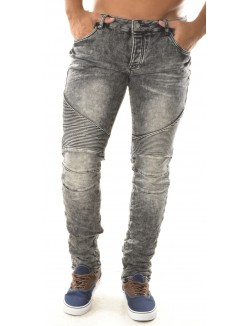 Jeans motard gris soft