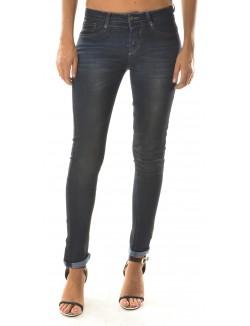 Jeans taille haute à surpiqûres