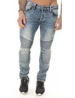 Jeans homme Projet X  motard acid wash molletonné
