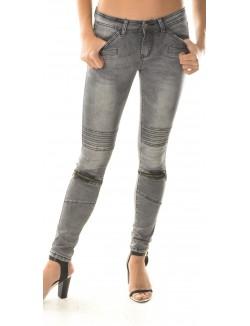 Jeans gris motard à zips
