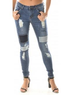 Jeans slim patchwork