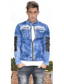 Veste en jeans Exclusive bimatière délavée