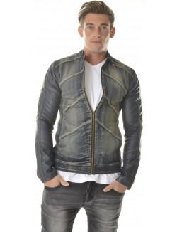 Veste Exclusive en Jeans à manches cuir