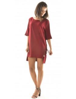 Robe oversize à franges asymétrique
