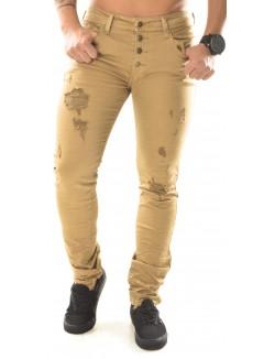 Jeans slim Project X beige déchiré