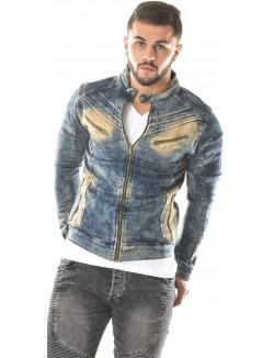 Veste en jeans Exclusive à zips