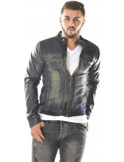 Veste en jeans Exclusive à zips à manches cuir