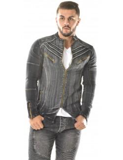 Veste en jeans Exclusive à zips ajourée