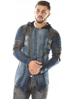 Veste en jeans Exclusive bimatière à capuche