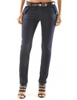 Pantalon slim à pinces & ceinture