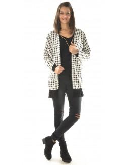 Kimono à carreaux noir & blanc