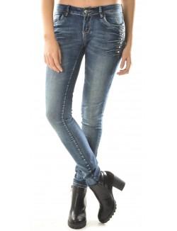 Jeans slim à boutons latéraux