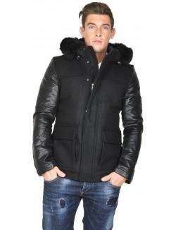 Manteau à manches simili-cuir