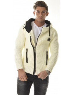 Gilet épais en laine asymétrique