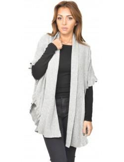 Gilet en laine bordures gaufrées