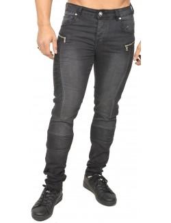 Jeans Sixth june effet motard à zips
