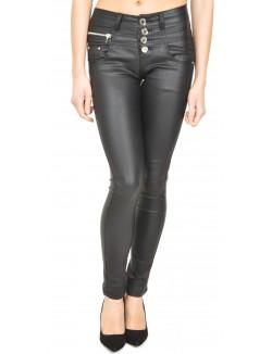Pantalon huilé taille haute à zips