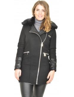 Manteau bimatière à col en fourrure