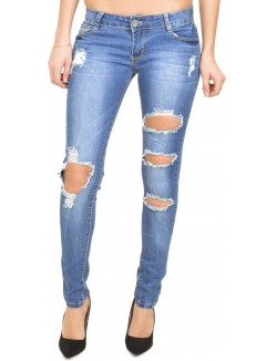 Jeans slim délavé destroy
