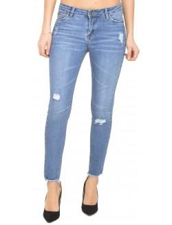 Jeans taille haute effet destroy
