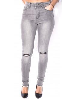 Jeans gris délavé taille haute