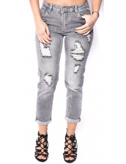 Jeans girlfriend gris déchiré