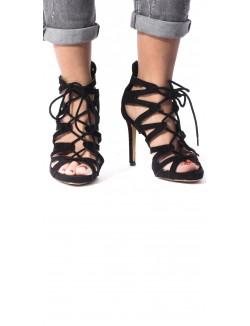 Sandales à talon en suédine lacées