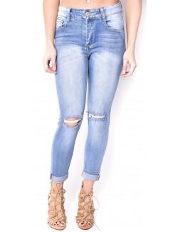 Jeans délavé taille haute déchiré