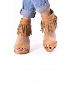 Sandales en suédine à franges