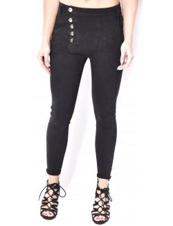 Jeans sarouel stretch à boutons