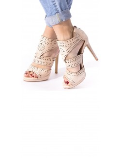 Sandales à talons en daim ajourées