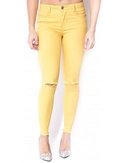 Jeans skinny déchiré moutarde