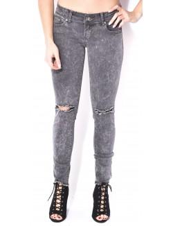 Jeans gris délavé effet destroy