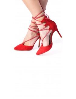 Escarpins en daim à lacets ajourées